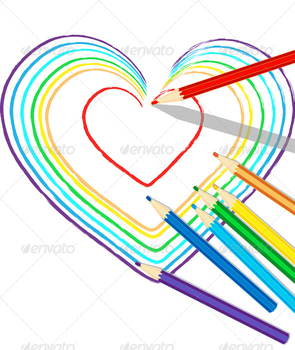 GraphicRiver Colourful Heart Drawn with Pencils 7782025