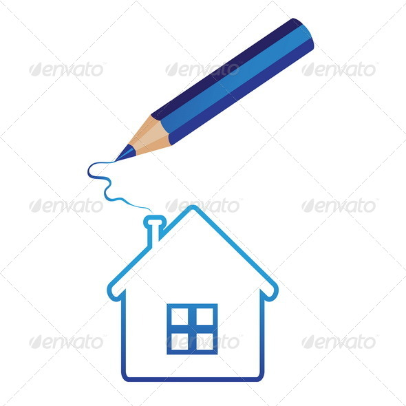 GraphicRiver Pencil Draws a House 7812488