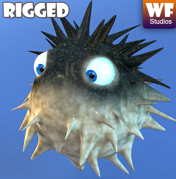 3DOcean Cartoon Puffer Fish Rigged 7575069