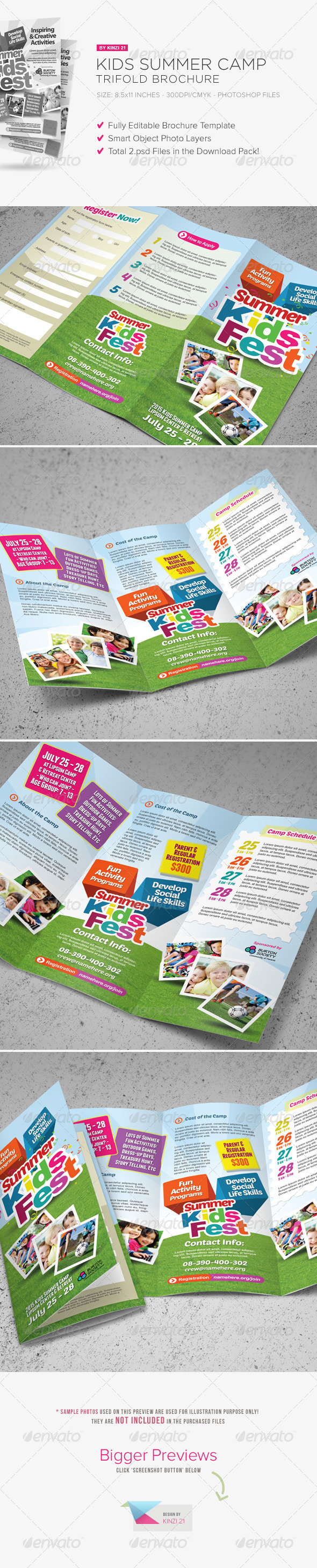 GraphicRiver Kids Summer Camp Trifold Brochure 7812618