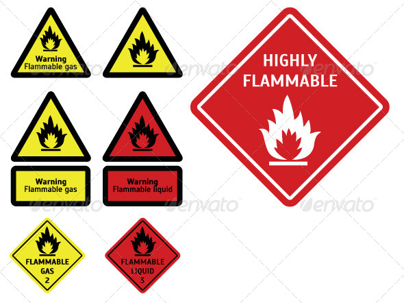 GraphicRiver Flammable Signes and Tables 7812684