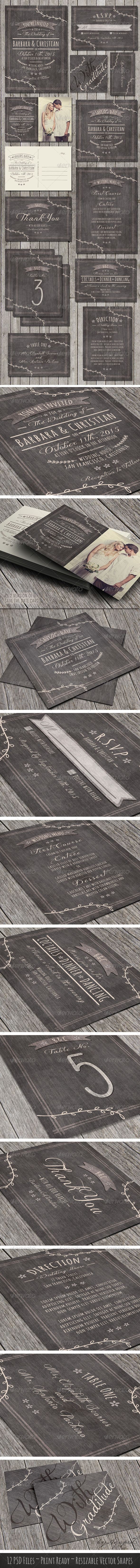 GraphicRiver Rustic Wedding Pack 7813449
