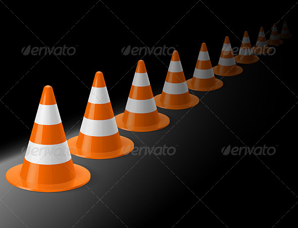 GraphicRiver Row of Traffic Cones 7813637