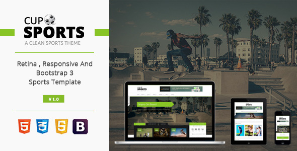 Sports Cup - Bootstrap 3 Responsive Html Theme - Entertainment Site Templates