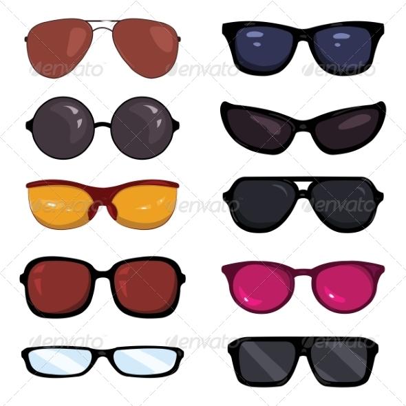GraphicRiver Set of Color Cartoon Glasses 7813940