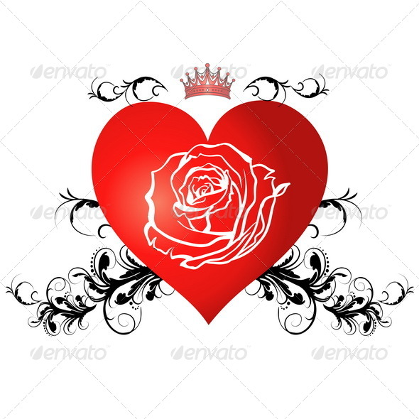 GraphicRiver Red Heart with a Rose 7814093