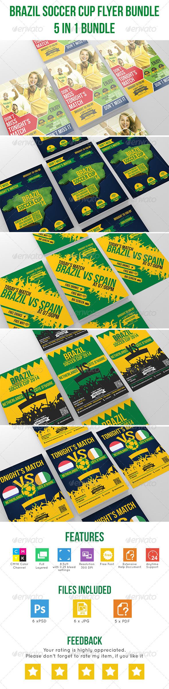 GraphicRiver Brazil Soccer Cup Flyer Bundle 7814127