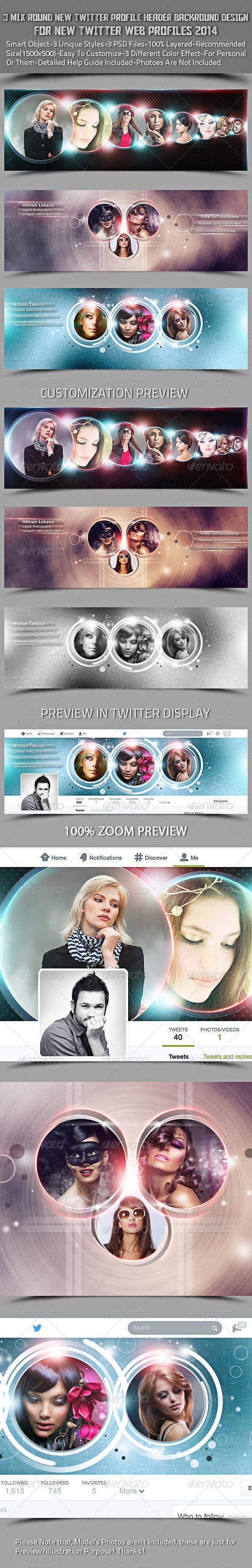 3 Mix Round New Twitter Header Profile Background