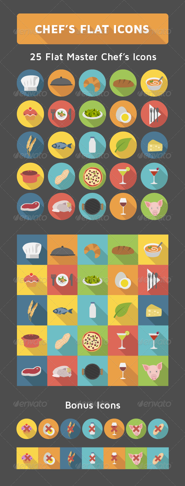 GraphicRiver Chef s Flat Icons Set 7814214