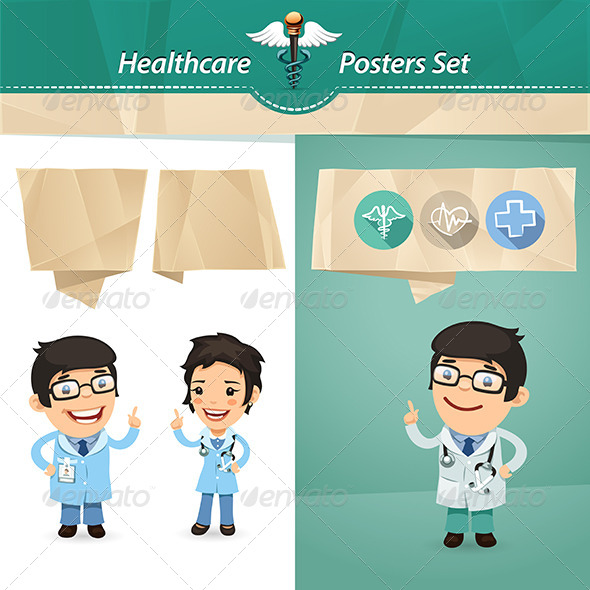 GraphicRiver Doctors with Speech Bubbles Set 7802663