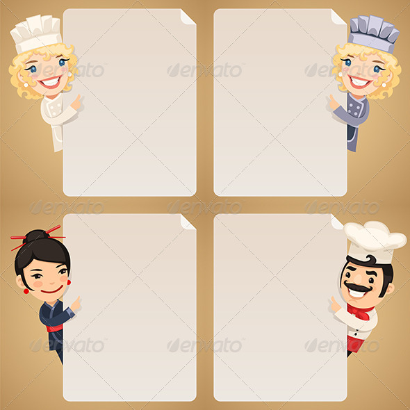GraphicRiver Chefs Cartoon Characters Looking at Blank Poster 7802726