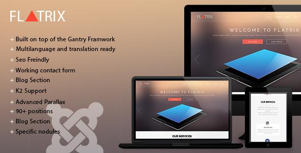 ThemeForest Flatrix One Page joomla template 7814259