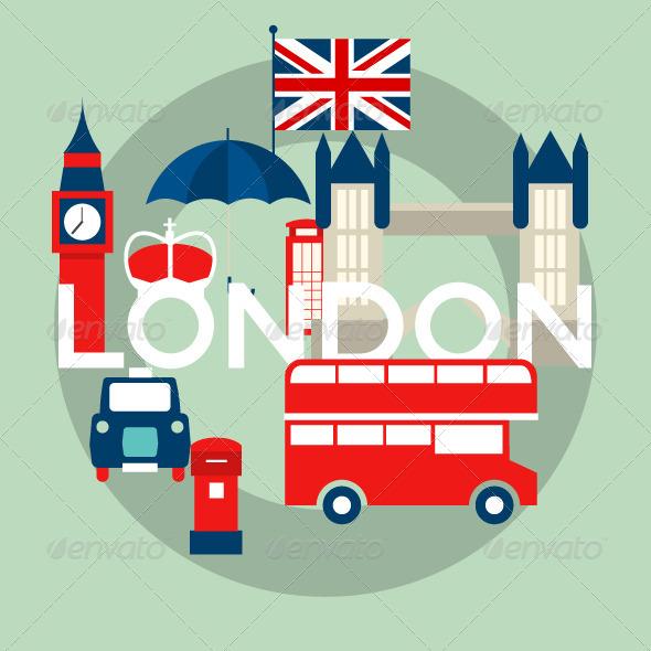 Illustration with Symbols of London