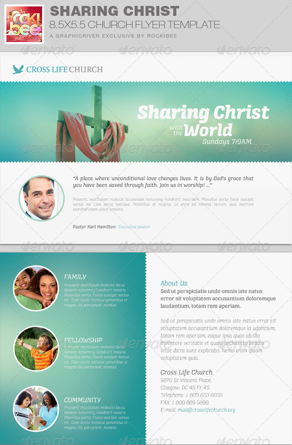 GraphicRiver Sharing Christ Church Flyer Invite Template 7814405