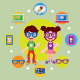 Boy and Girl with Icons  - GraphicRiver Item for Sale