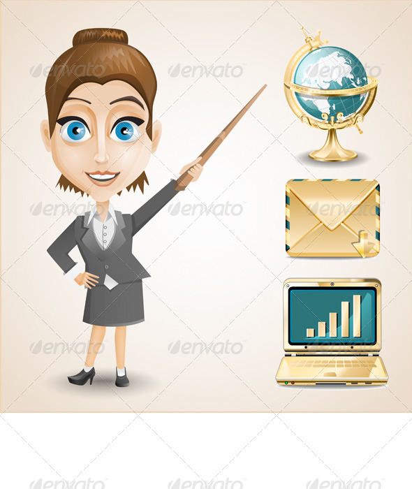 GraphicRiver Businesswoman with Items 7814554