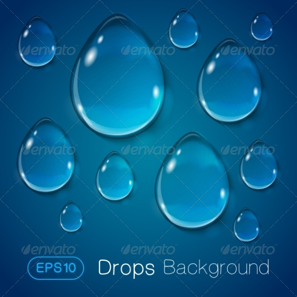GraphicRiver Drops of Liquid on Blue Background 7814619