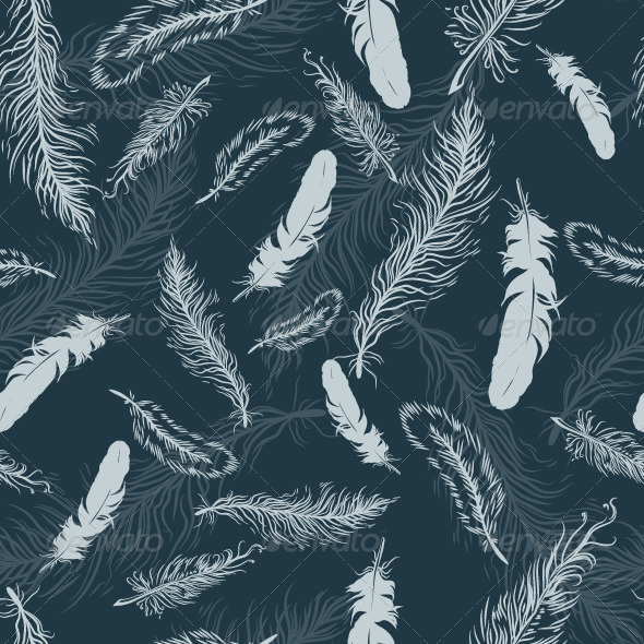 Vintage Seamless Pattern with Feathers