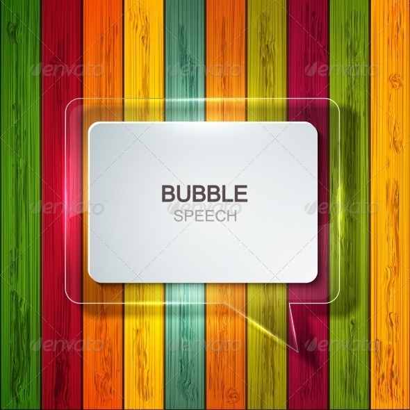 Bubble Speech Icon on Wooden Background