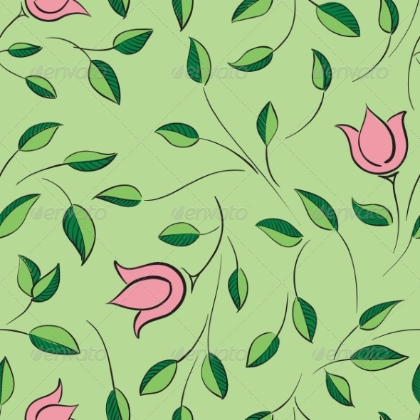 GraphicRiver Leaves and Flowers Seamless Pattern 7814976
