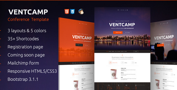 Ventcamp - Responsive Conference Landing Page - Events Entertainment