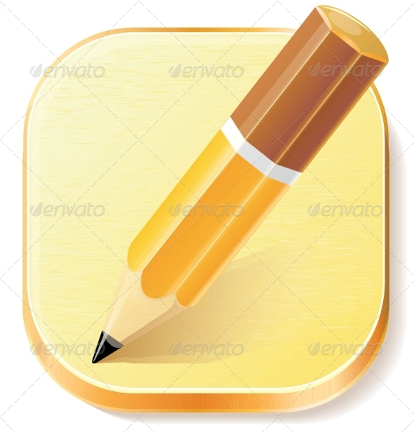 GraphicRiver Pencil Icon on Textured Plane 7815373