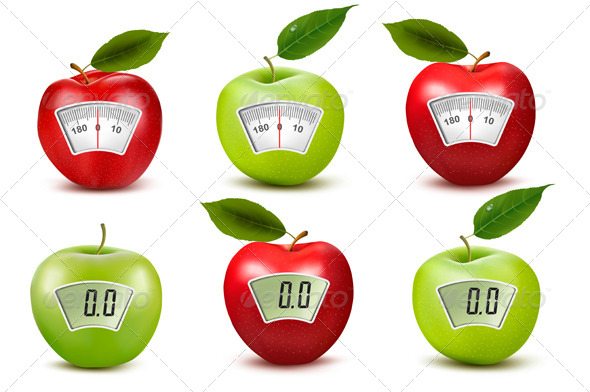 GraphicRiver Set of apples with weight scales Diet concept 7815442