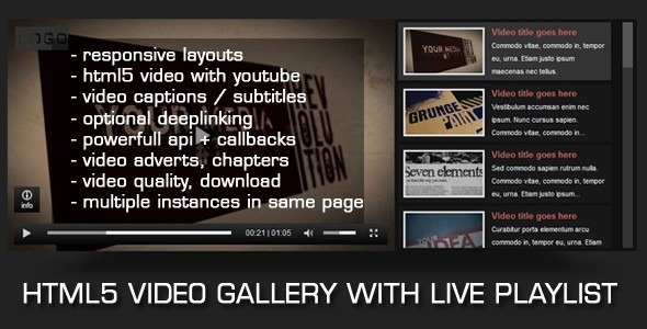 HTML5 Video Gallery with Youtube - CodeCanyon Item for Sale