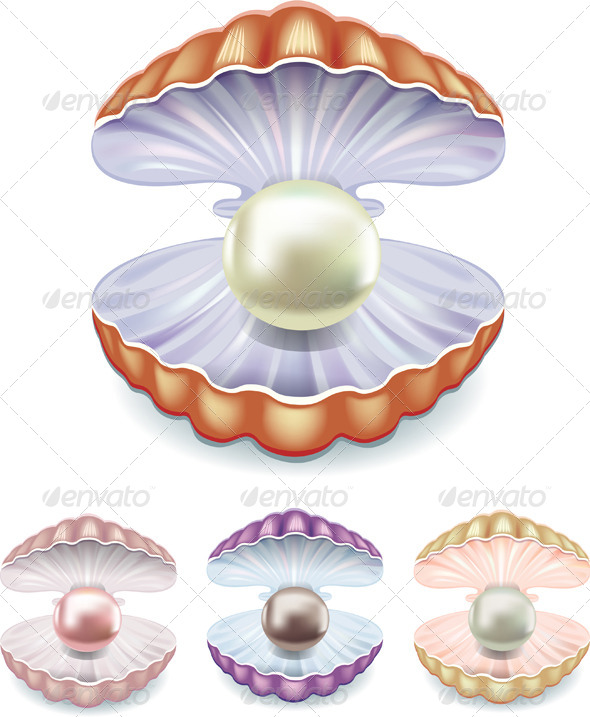 Set of Pearls in Shells