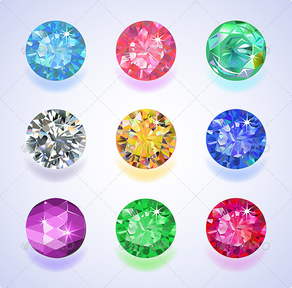 GraphicRiver Round Shape Top View Colored Gems 7817927