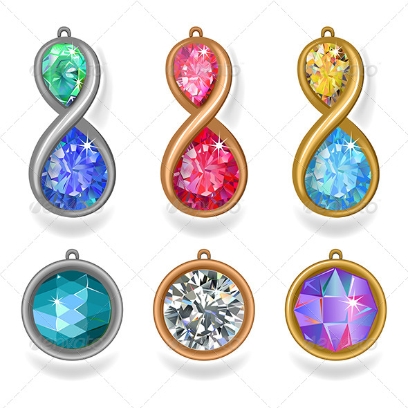 GraphicRiver Jewelry Precious Metal Pendants with Colored Gems 7817942