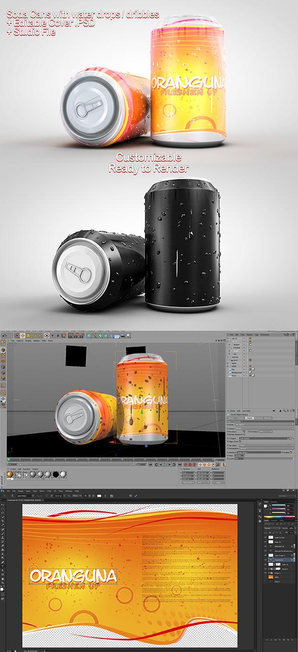 3DOcean Soda Cans & PSD 7819563