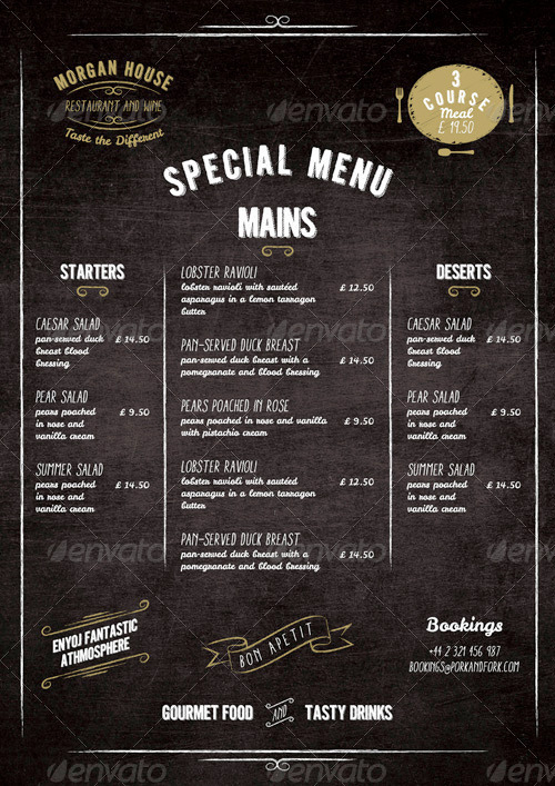 Food Menu Blackboard Restaurant Package By Marnica
