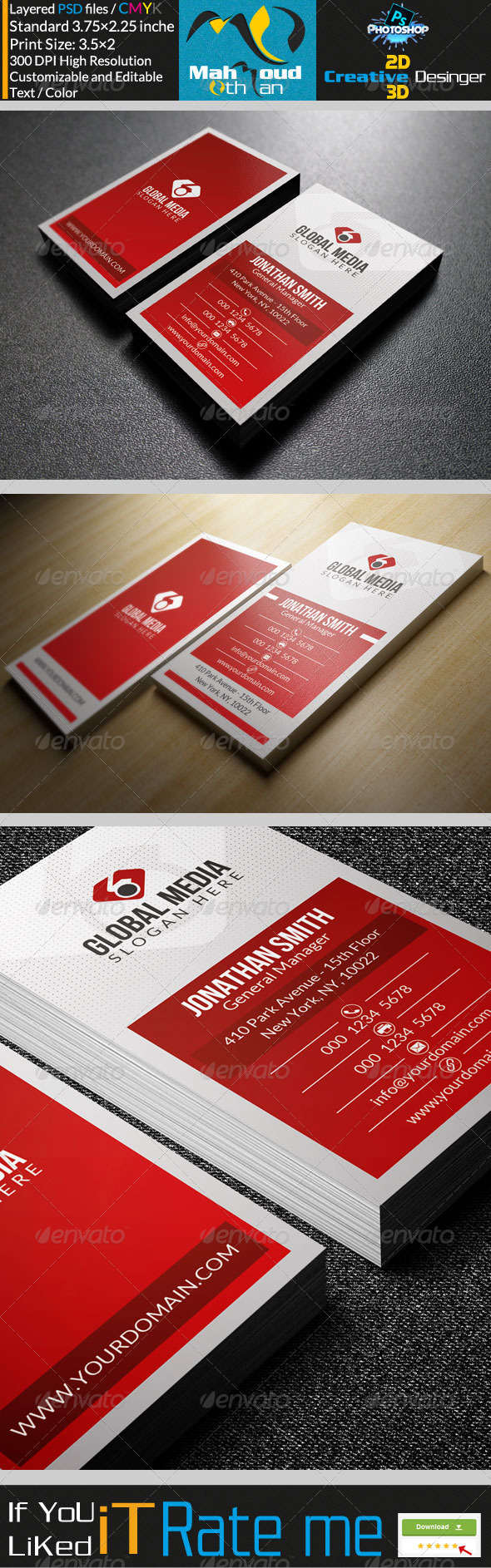 GraphicRiver Corporate Red Business Card 28 7819823