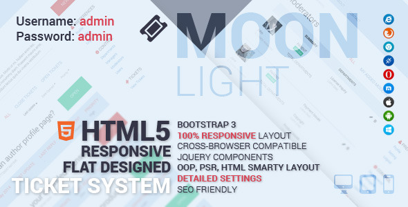 CodeCanyon MoonLight Bootstrap Responsive Ticket System 7820395