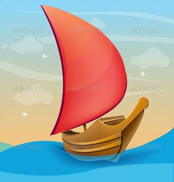 GraphicRiver Boat with Red Sail on a Sunset Background 7820408