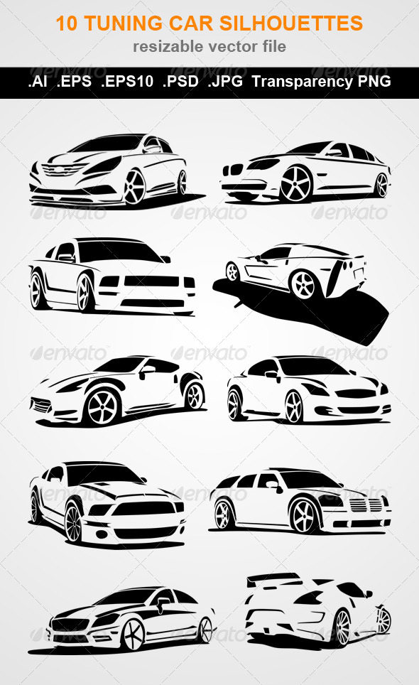 GraphicRiver 10 Tuning Car Silhouettes 7820975