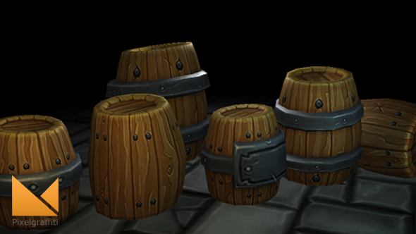 3DOcean Fantasy Forge Handpainted Barrel Set 7821428