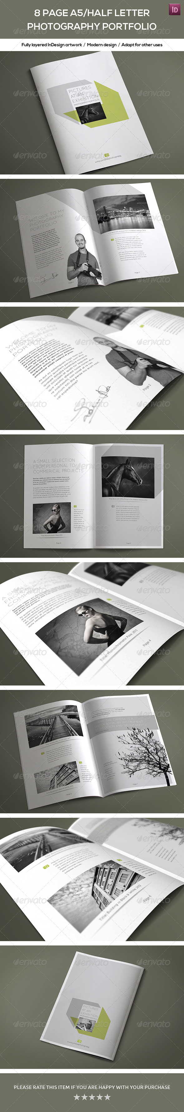 8 Page A5 Half Letter Photography Portfolio