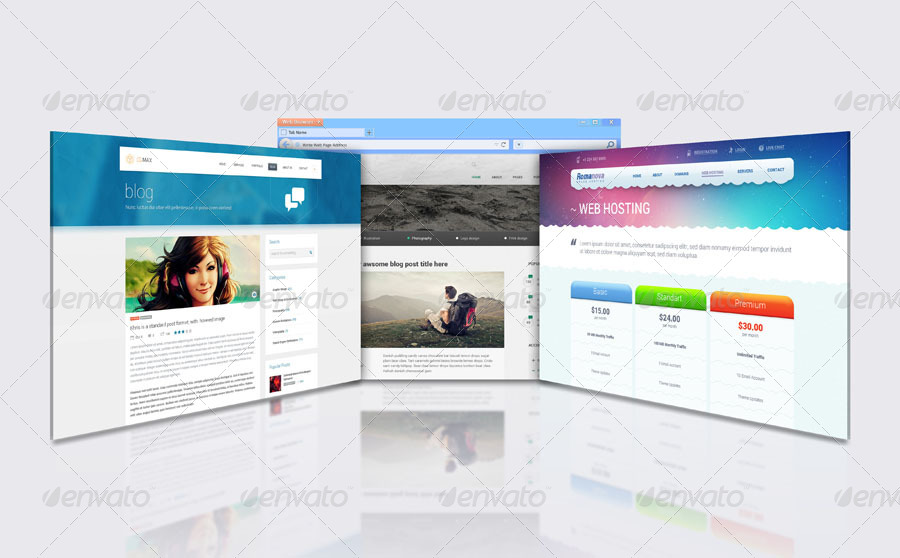 3d web browser display mock up by towhid123griver 3d web browser
