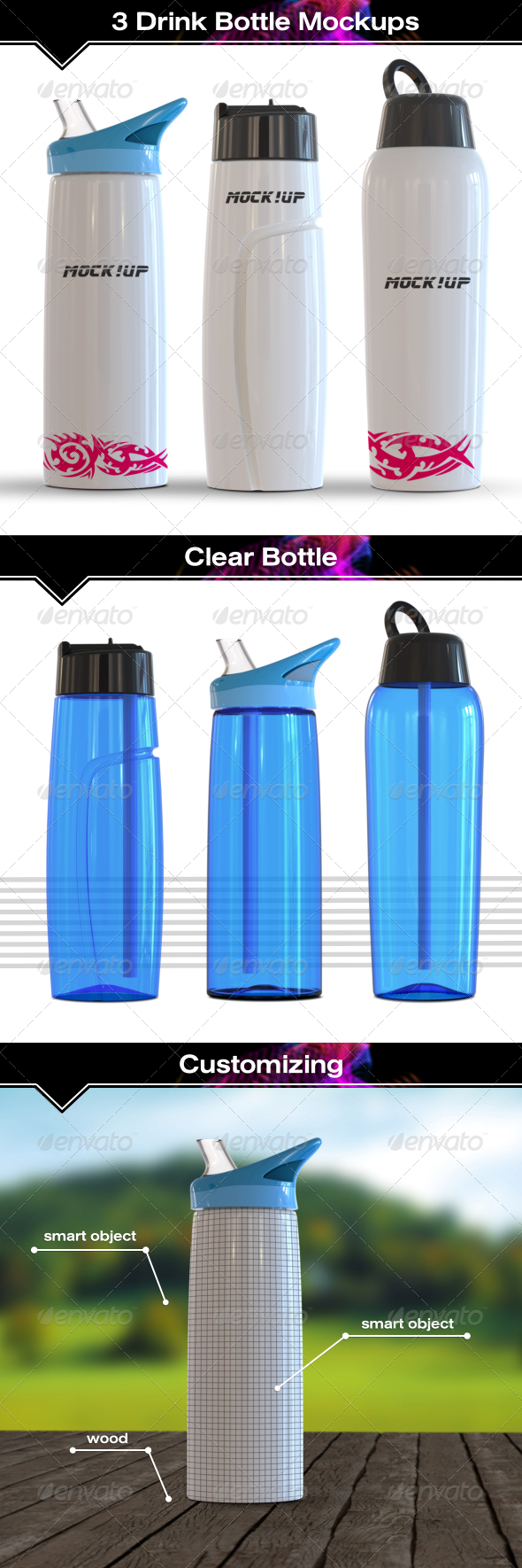 GraphicRiver 3 Sport Bottle Mockup 7822254