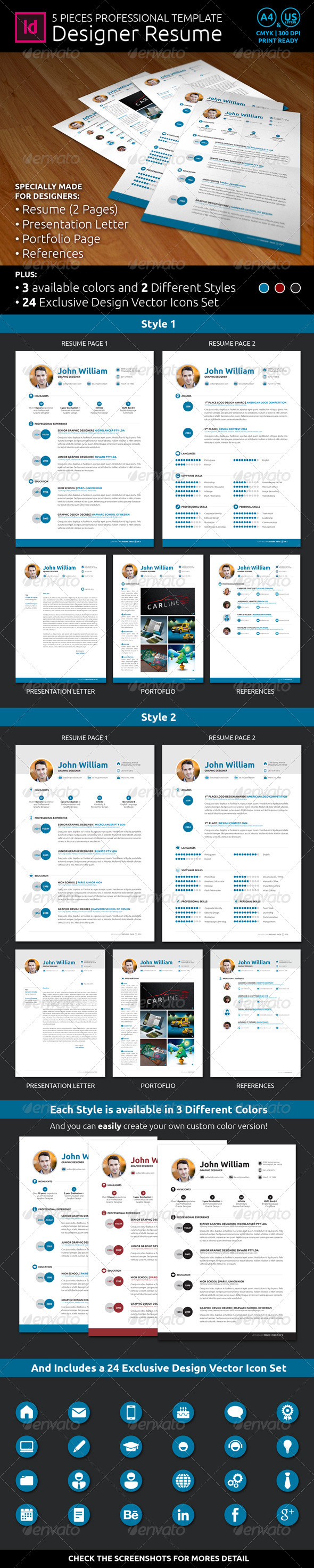 GraphicRiver Designer Resume CV Template 7822411
