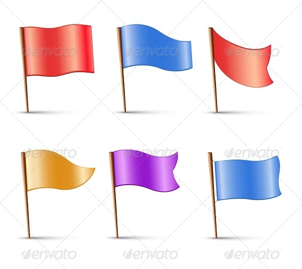 Flags Set of Multi Colored Pins