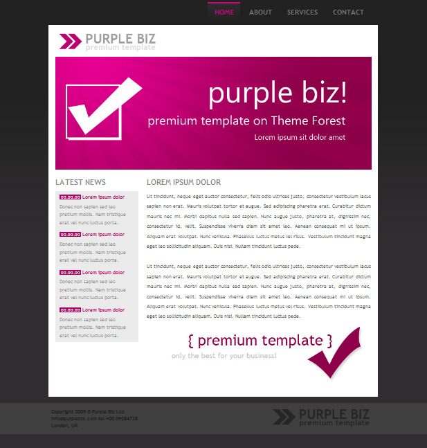Purple Biz Pack - Homepage of PurpleBiz theme in purple color version.