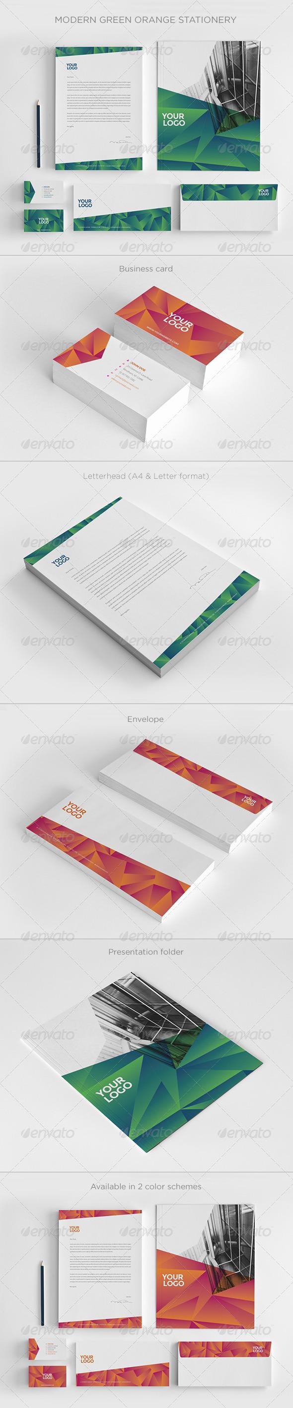 GraphicRiver Modern Green Orange Stationery 7822754