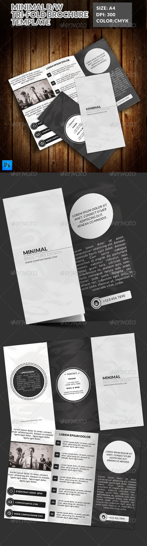 GraphicRiver Minimal Black & White Tri-Fold Brochure 7823020