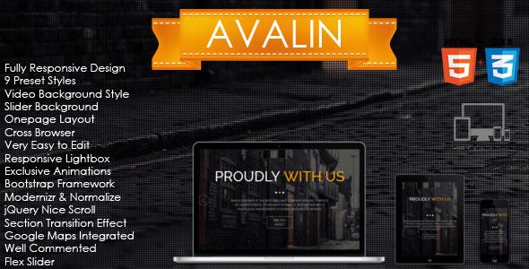 Avalin - OnePage HTML Template - Portfolio Creative