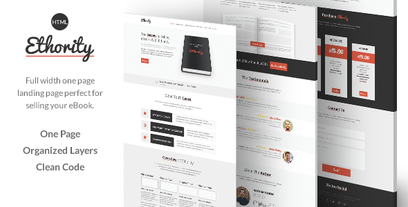 ThemeForest Ethority One Page eBook Landing 7823135