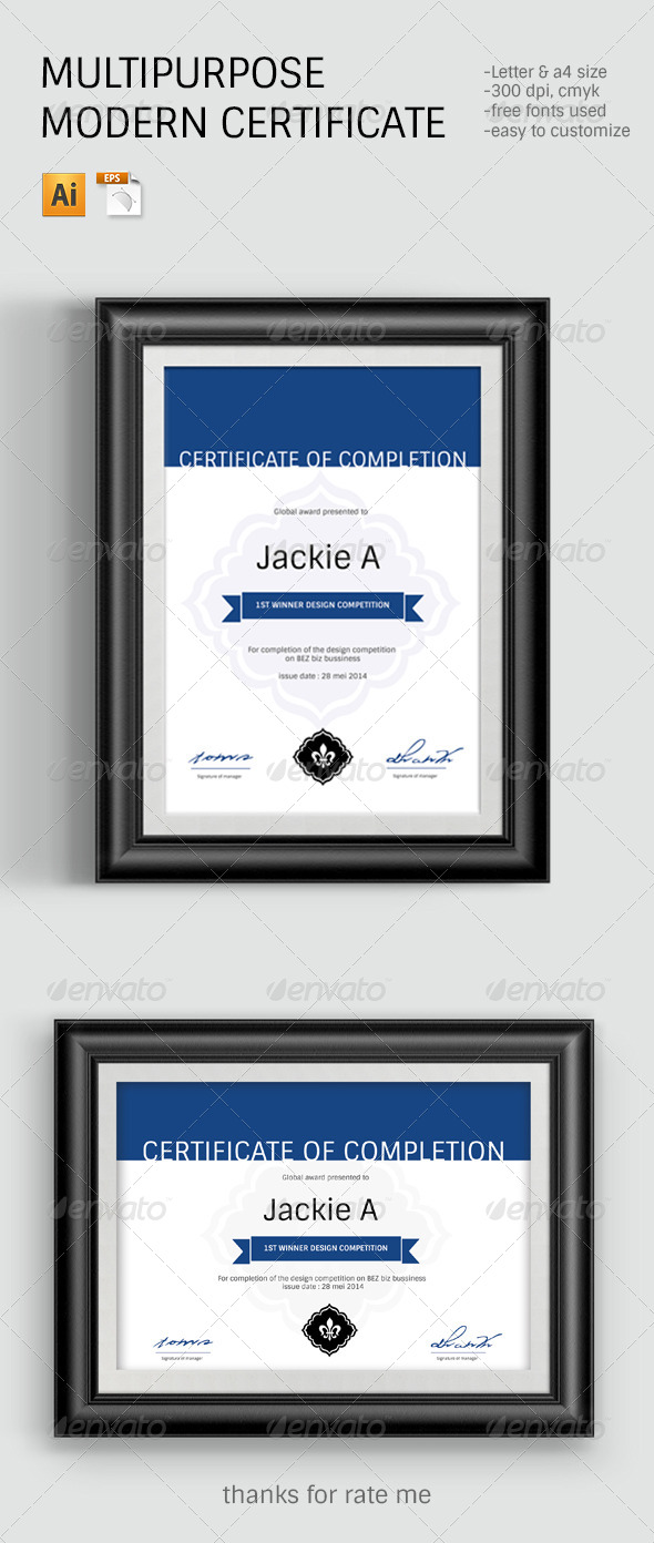 GraphicRiver Modern & Clean Certificate Template 7823320