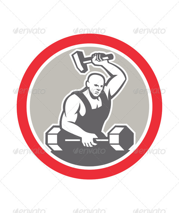 GraphicRiver Blacksmith Striking at Barbell with Sledgehammer 7823333